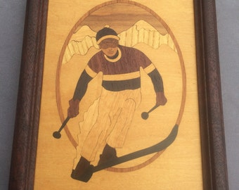 Nelson Wood Inlay Skier Hudson River Marquetry Vintage