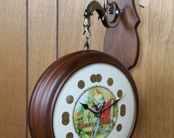 Vintage Two Sided Hanging Cigar Clock