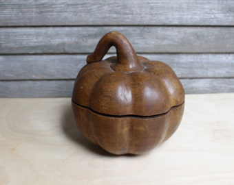 Wood Carved Pumpkin Container
