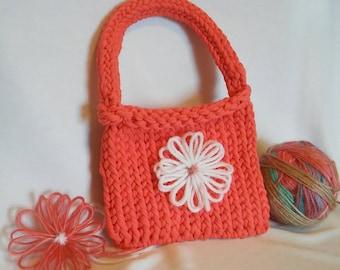 Peach Purse - Hand-Knit