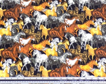 Horses Black 100% Cotton High Quality Fabric Material Sold by the Metre
