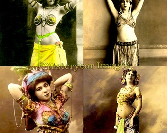 Vintage BELLY DANCER Photos - Printable Digital Images - Collage Sheets - Instant Download - 3 PNG Files 4x4. 2x2. 1x1