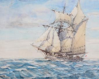 schooner (watercolor)