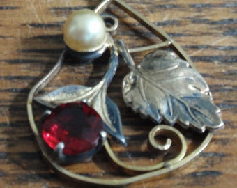 12K Gold Filled Leaf and Pearl Pendant with Red Stone
