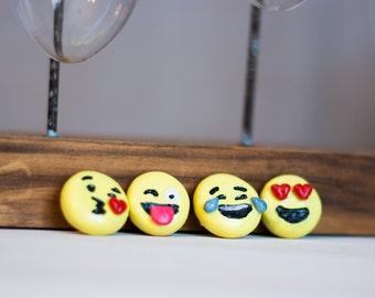 Set of Four Clay Emoji Magnets, Emoji Magnet Set, Cry Emoji, Heart Eye emoji, Kissing Emoji, Silly Face Emoji Magnets