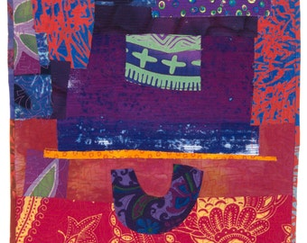 Tea in Taos, original textile collage by Darcy Falk