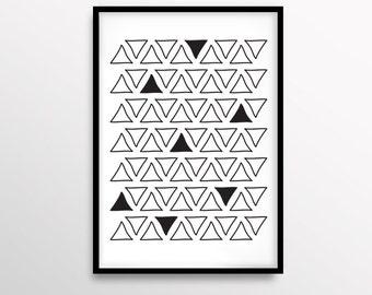 Triangles Art, Tribal Print, Wall Art, Minimalist Decor, Abstract Art, Geometric Art, Scandinavian Print, Home Decor, Modern, Black & White