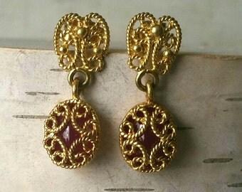 Vintage 6 carat natural Ruby 18 Karat Gold Earrings July Birthstone
