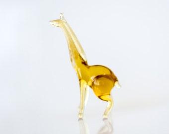 Tiny Glass giraffe miniature Micro Animal Figurine Murano Style Miniature Garden Sculpture