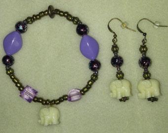 White and Purple Elephant Bracelet and Earring Set