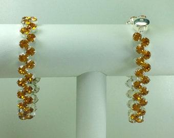 Topaz Redbud Bracelet - Swarovski Crystals, Magnetic Clasp, Silver Plate