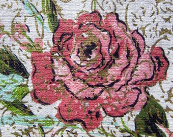 Roses Abound!  1950s Vintage Barkcloth Fabric BTY / fabulous floral NOS unused drapery fabric/ mid century cottage ready / pink & aqua