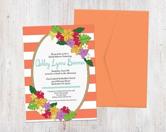 Bridal Shower Invitation - Tropical Florals {Customized Printable Invitation}