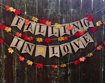 Falling In Love Burlap Banner- Rustic Wedding- Bridal Shower- Engagement Party- Baby Shower- Fall Wedding Decorations- Birthday Party Decor