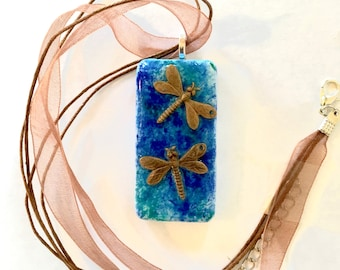 Handmade Jewelry - Blue Pendant Necklace - Dragonfly Jewelry - Upcycled Domino - Boho - Gift for Girls - Unique Gift for Her under 20