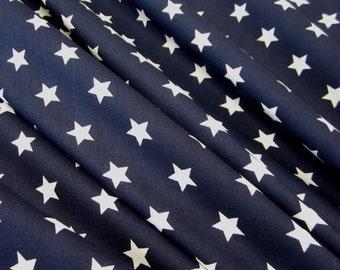 cotton fabric stars navy white 9mm