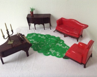 Dollhouse miniature furniture livingroom from the 50s