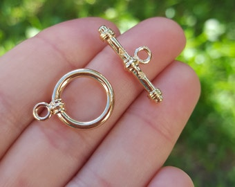 1 set of 14K Gold Plated Round Toggle Clasp B61808