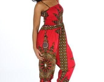 African Jumpsuit - Jaineba Jumpsuit - Colourful Romper - African Wax Print - Wax Jumpsuit - Festival Jumpsuit