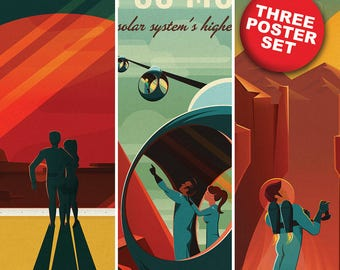 2015 SpaceX Vintage Mars Travel Poster Set (Three) 12x18 Heavyweight Prints