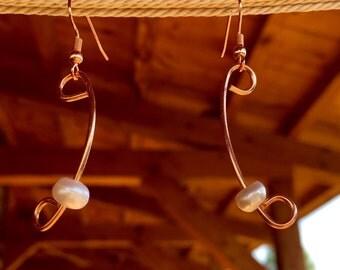 Pearl Copper Earrings