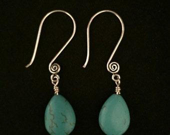 Turquoise Tear Drop Dangle Earrings