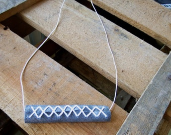 tube leather necklace, geometrical leather necklace, grey, grey necklace