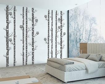 kik314 Wall Decal Sticker Room Decor Wall Art Moral forest owls birch tree bird living room children's bedroom (172)