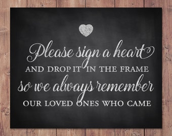 Rustic Wedding Guest Book Sign - please sign a heart and drop it in the frame - printable wedding sign - 8x10 - 5x7