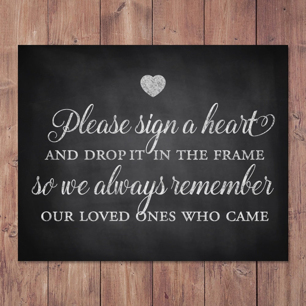 Rustic Wedding Guest Book Sign Please Sign A Heart And Drop