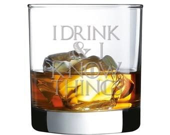 4pcs - I Drink & I Know Things - Engraved Whiskey Glasses - Rocks Glasses - RG10OZ-DGI151