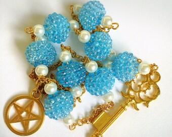 Dreamy Blue Lantern, Key & Pentacle Necklace