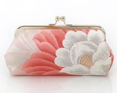 Vintage Japanese Obi Clutch Purse | Peony (Botan) in Peach and Pink