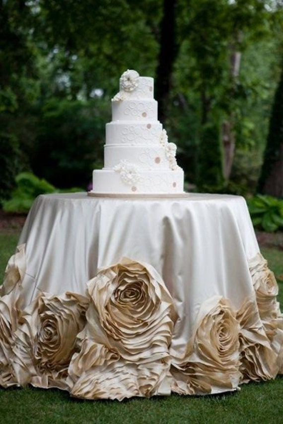 Champagne Wedding Linens Roses Tablecloth Sweetheart Table