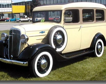 36 Chevy Suburban photo magnet, yellow car magnet, vintage car, classic photo magnet, classic station wagon, auto show, classic car show