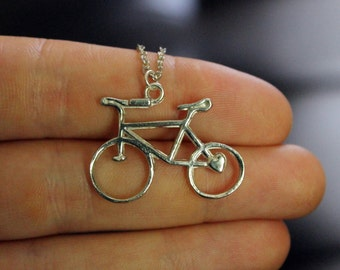 Silver Bike Bicycle Necklace | gift for biker / bicyclist / cyclist / triathlete