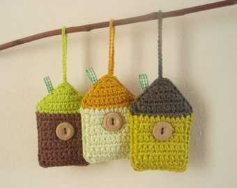 CROCHET PATTERN - Houses - crochet pattern, hanging decoration, ornament, diy, PDF