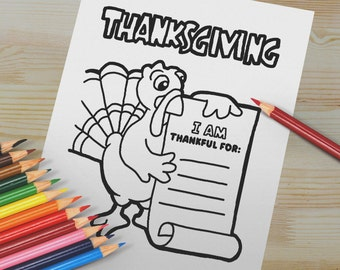 Turkey Coloring Page for Thanksgiving. Autumn Craft Project Digital Download