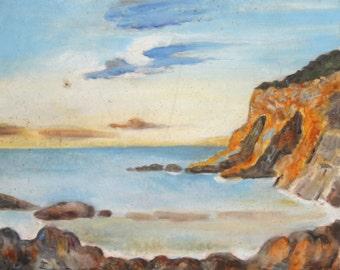 Vintage fauvist oil painting seascape signed