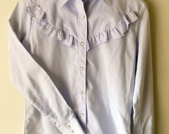 Vintage 1970s Lilac Ely Plains Ruffled Cowgirl Shirt size 10 M MEDIUM S Small