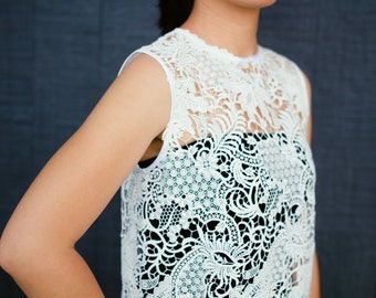 Vine Forest Lace Dress. White Color. Italy Lace. Ships Worldwide.
