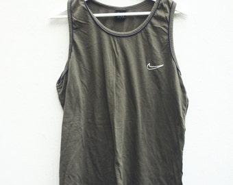 vintage nike vest tank top sportswear hip hop style dark green xl