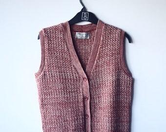 vintage ladies knitted tank vest jacket M