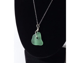 Sterling Silver and Sea Glass Pendant Seaglass necklace beachglass