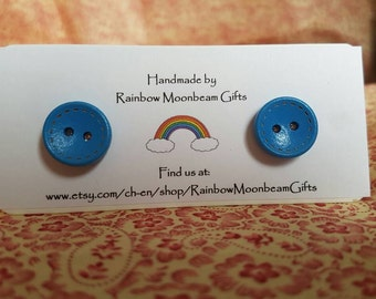 Handmade Wooden button earrings, stud earrings, Blue buttons, silver plated