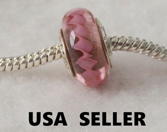 Authentic Pandora Pink Zig Zag Glass Bead Charm