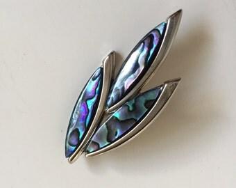 Vintage Paua Shell Silver Tone Brooch