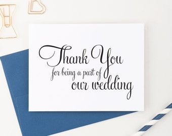 Wedding Thank You Cards Set, Thank You for Being a Part of Our Special Day, Vendor, Florist, etc (Set of 5) WFS02