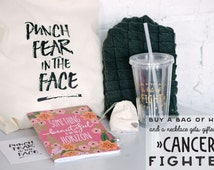 Bag of Hope, Breast Cancer Gift Bag with T-Shirt, Boxing Glove Necklace, Chemo beanie, cancer gift bag, gift box, breast cancer gift
