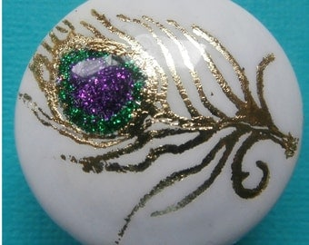 Custom made One of a Kind Furniture and Cabinet Knobs-Glitter Peacock feather on White